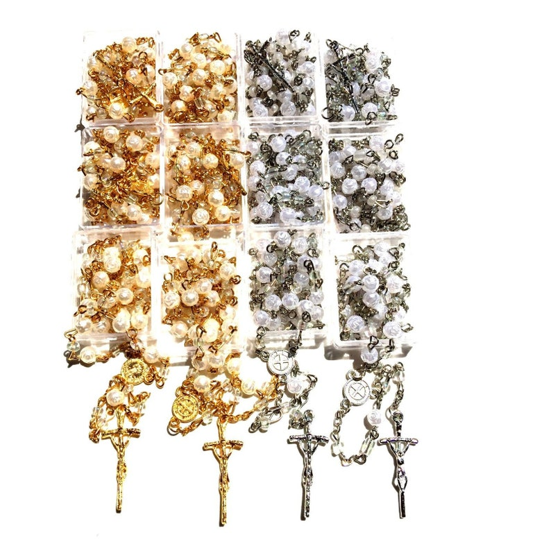 12 x Wholesale Bulk St Benedict Faux Pear Rosaries for Baptism, Wedding,  Memorial Religious Favor w/ Free Gift Box and Organza Bag