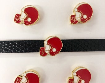 Set of 10 pc red/blue/black/brown football helmet slide charm fits 8mm wristband for jewelry /crafting