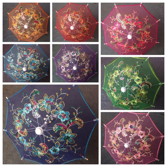 """Small Lace embroidered parasol umbrella for  wedding party decoration/ table setting / wall deco /you choice of color / 8"""""""