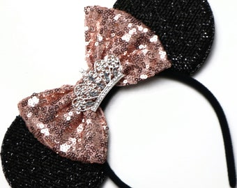 Rose Gold Tiara Sequin Mouse Ears / Sparkle Red Ears / Princess Mouse Headband / Rose Gold Headband / Tiara Mouse Ears / Tiara Headband