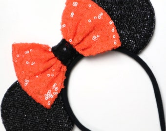 Halloween Mickey Minnie Mouse Sequin Ears Orange Black Purple Mouse Sequin Halloween Ears Orange mouse Ears / Not so Scary Mouse Ears