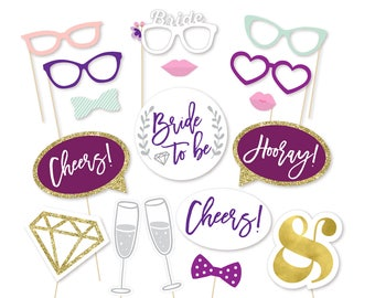 Wedding Photo Booth Props - Photo Props - Bachelorette Party Props - Bride to be - Watercolor - Wedding Shower - Bridal Shower -She said yes