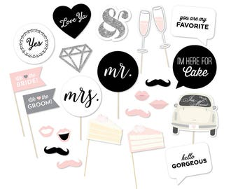 Printable Wedding Photo Booth Props - Wedding Photobooth Props - Just Married Sign - Wedding Signs - Printable Wedding Decor - Mr Mrs Signs