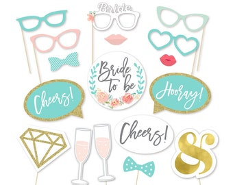 Bachelorette Party Decoration Props - Bride to be - Wedding Photo Booth Props - Bridal Shower Photo Booth Props - Aqua Wedding Photo Prop