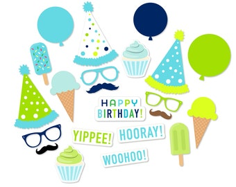Blue and Green Party Photo Booth Props - Birthday Party Props - Printable PDF Photo Booth - Colorful Birthday Party - Polka Dots - First 1st