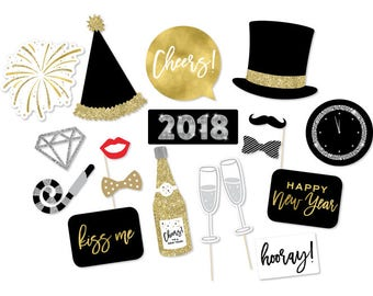 NYE Party - New Year's Eve Photo Booth Props - New Years Props - New Years Photo Booth - 2018 New Year's - Black Gold Photo Props -NYE Party