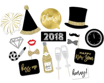 New Year's Eve Photo Booth Props - New Years Props - NYE Props - New Years Photo Booth - 2018 New Year's - Black Gold Photo Props -NYE Party