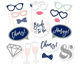 Bachelorette Party Decorations, Navy Photo Booth Props, Bridal Photo Booth Props, Printable Bachelorette, Bachelorette Party, Navy Blue Pink