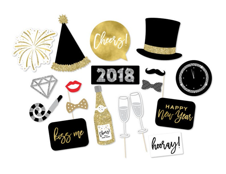 New Year's Photo Booth Props  New Years Props  New image 0