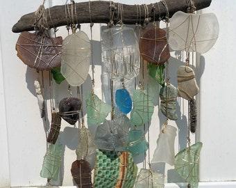 Sea Glass Sun Catcher, Driftwood Mobile, Bohemian Suncatcher, Nautical Birthday, Housewarming, Ecofriendly Decor, Beach Glass Windchime