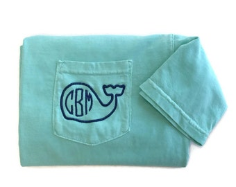 Monogram Shirt, Whale Monogram Pocket Tee, Comfort Colors, Monogrammed Shirt, Personalized Shirt, Personalized Gift, Gift For Her, Preppy