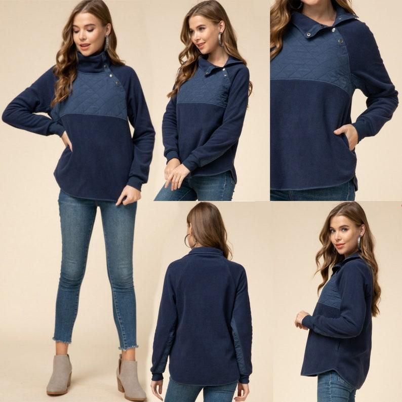 Monogrammed 14 Jacket Side Quarter Snap Quilted Fleece Pullover Monogram Sweatshirt For Women