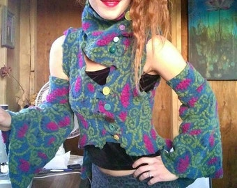 Mystical Tree of life Felted Organic Wool vest with Belle sleeve arm warmers