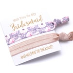 Gray + Blush Floral Favors | Bridesmaid Proposal | I Can't Tie The Knot Without You | Bridesmaid Box | Bachelorette Party, Hair tie Favors