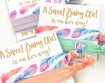 Feather Baby Shower Favors   Custom Boho Baby Shower Favors   Baby Girl Shower Favors   It's A Girl   Hair Tie Favors   Oh Baby   Baby Girl