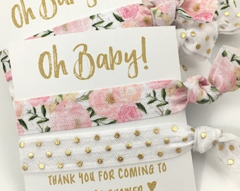 Custom Floral Baby Shower Favors   Baby Girl Shower Favors   It's A Girl    Light Pink Floral and Gold Hair Tie Party Favors   Oh Baby Favor