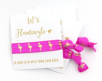 SALE Limited Time | Flamingo Bachelorette Party Hair Tie Favors | Bachelorette Favors | Let's Flamingle | Pink Flamingo | Bridesmaid Gift