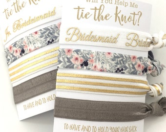 Gray + Blush | Bridesmaid Hair Ties | Will You Be My Bridesmaid | Bridesmaid Proposal, Bridesmaid Gift, Thank You | Help Me Tie The Knot