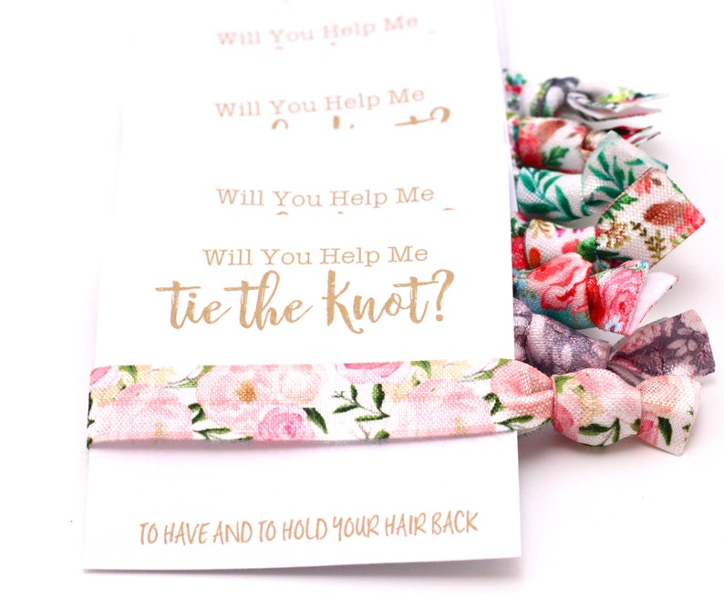 CHOOSE YOUR PATTERN  Bachelorette Party Hair Ties  Floral image 0