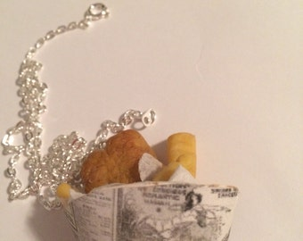 Fish and Chips in Newspaper Necklace