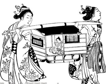Japan stamp / Geishas carrying a child in a litter / Unmounted large rubber stamp (130210)