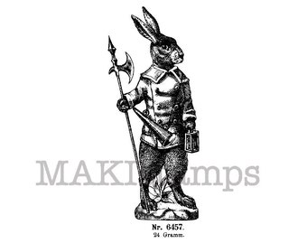 Rubber stamp Easter /  Rabbit guard with halberd / Unmounted rubber stamp (150202)