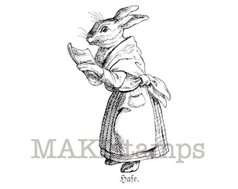 Rabbit stamp / Female Hare with book / Unmounted rubber stamp (130709)