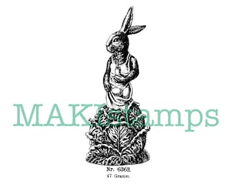 Vintage rubber art Rabbit stamp / Easter bunny with eggs / Unmounted rubber stamp or cling stamp option  (160309)