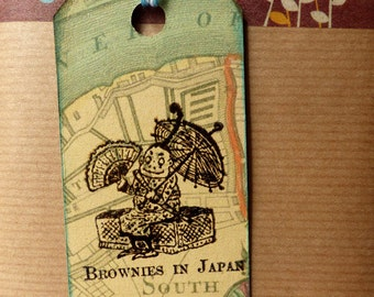 Travel rubber stamp / Brownies in Japan / Japan unmounted stamp or cling stamp option (140513)