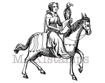 Lady rubber stamp / Falcon hunting / Middle ages rubber stamp / Rubber stamp horse (140416)