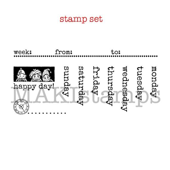 Diy Calendar Stamp Set Days Of The Week With Brownies 160106