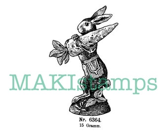 Easter Rabbit rubber stamp / Rabbit with carrot / Unmounted rubber stamp or cling stamp option  (160302)
