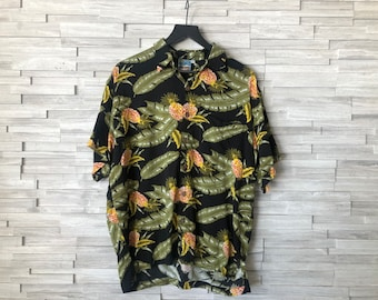 Favant Tropical Beach Floral Waves Tiki Pineapple Print Mens Hawaiian Aloha Shirt Luau Party