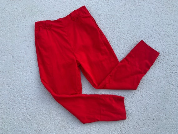 6 - 1950's WESTERN Cut RED Rayon Blend Pants