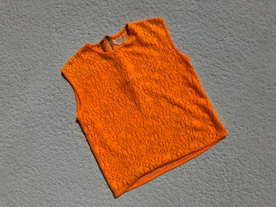 ML - 60's Orange Knit Acrylic Tank Top