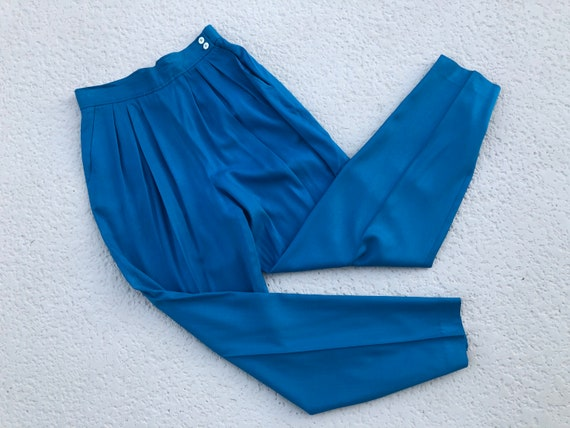 Blue SILK High-Waisted Trousers Pants by Evan Pico