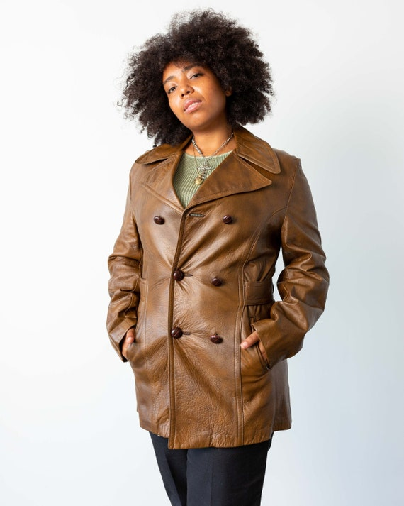 M - 70's Brown Leather Jacket