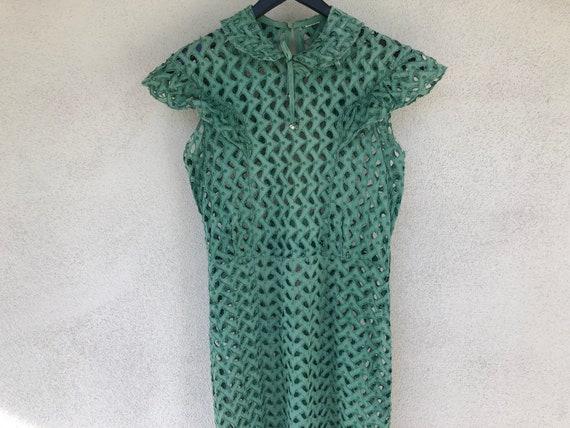 1930's Futuristic Cut-Out Crochet Green Dress