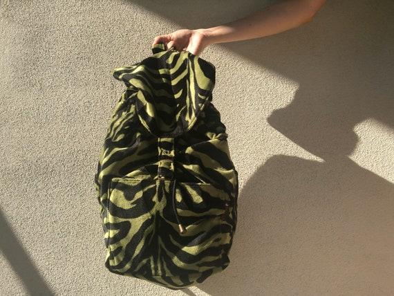 Green Zebra Print Plush Backpack