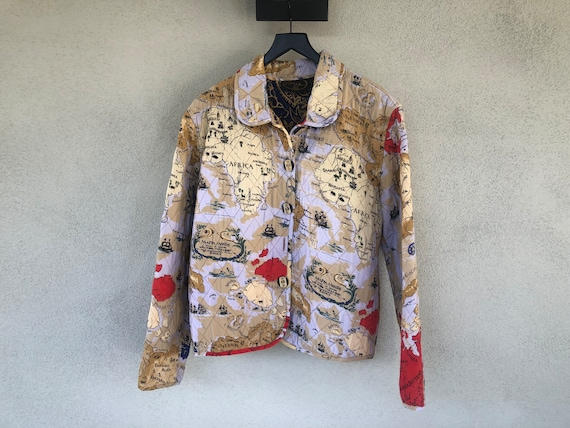 80's Africa Map Print Quilted Reversible Jacket