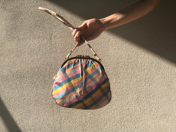 60's Pastel Plaid Handbag Shoulder Purse