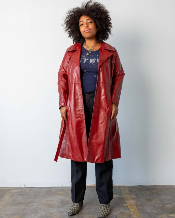 M - 1970's Red Leather Jacket