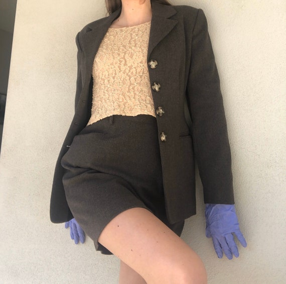 90's Courtenay Grey Suit with Mini Skirt