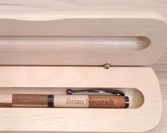 hand turned engraved cherry and maple wood pen with box, two kinds of wood pen, cherry and maple pen gift, black gunmetal finish pen, 2 wood