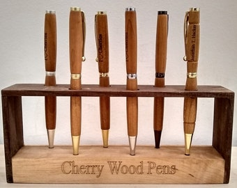 Super Awesome Cool Cherry Wood Pens! Handcrafted Every Time! Sleek Designs! Custom Engraving For Free! Lathe Turned Cherry Wood Pens!