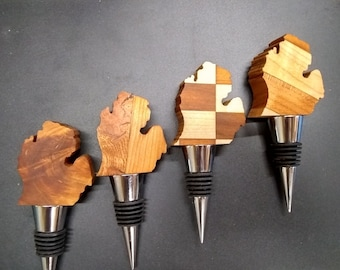 Handcrafted State Outlined Wine Stoppers out of 2 kinds of wood! Engravable for free! Made in the USA!
