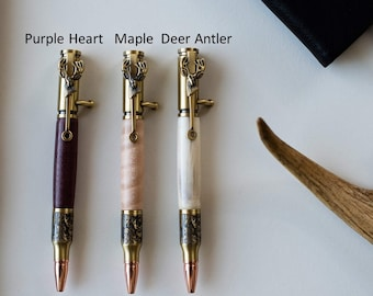 Brass Embossed Deer Antler Pen-Deer Antler Pen Set-Beautiful Embossed Deer Engraving-Hunters Pen Choice-Hunting Enthusiast Pen Gift