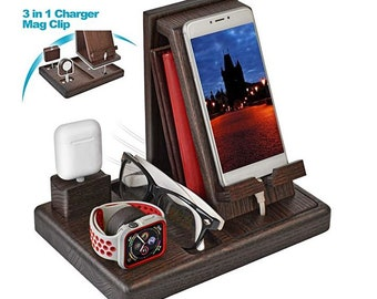 Charging Station for Multiple Devices Wood Dock Organizer Charging Station for Apple Watch, iPhone, iPad, Universal Mobile Phones