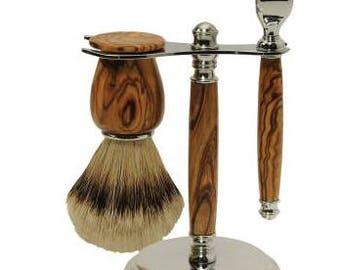 wood razor set/wood shaving set/wood gift/wood razor/wood mach3 razor set/wood razor stand/wood razor/wood shaving brush/shaving brush