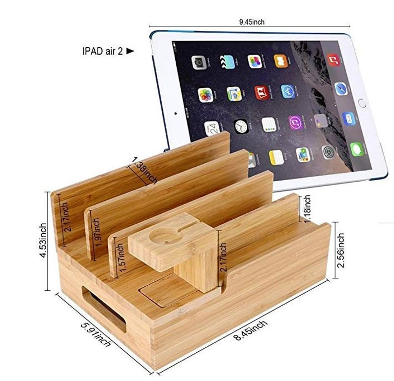 Charging Station for Multiple Devices Wood Dock Organizer image 0